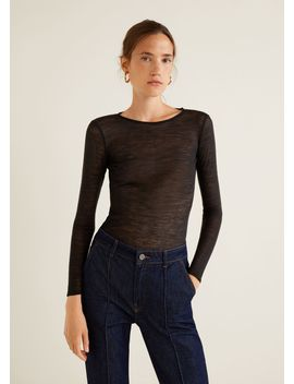 Devoré Knit T Shirt by Mango