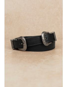 Kendall Black & Silver Double Buckle Belt by Tobi