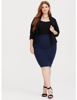 Dark Blue Ponte Pencil Skirt by Torrid