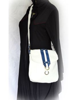 Vintage Avorio White Crossbody Messenger Bag Shoulder Handbag Blue Striped Flap by Avorio