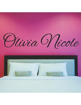 "Fancy Cursive Single Personalized Custom Name Vinyl Wall Art Decal Sticker 45"" W, Girl Name Decal, Girls Name, Nursery Name, Girls Name Decor, Girls... by Decor Designs Decals"