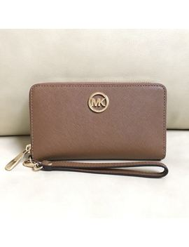 New Michael Kors Fulton Jet Set Travel Flat Leather Phone Case Wallet Wristlet by Ebay Seller