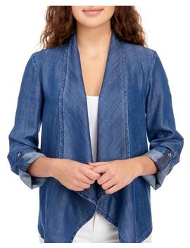 Exclusively Ours   Draped Chambray Jacket Exclusively Ours   Draped Chambray Jacket by Peck & Peck Peck & Peck