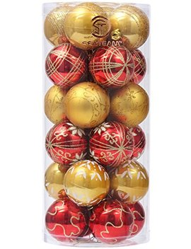 "Sea Team 60mm/2.36"" Delicate Contrast Color Theme Painting & Glittering Christmas Tree Pendants Decorative Hanging Christmas Baubles Balls Ornaments Set   24 Pieces (Gold & Red) by Sea Team"