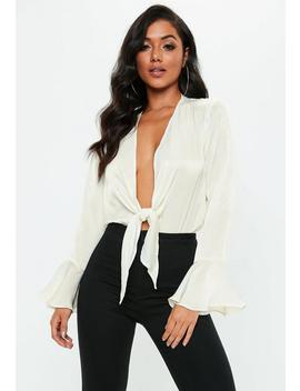 Cream Flute Sleeve Knot Front Bodysuit by Missguided