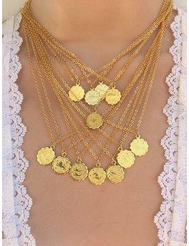 Dainty Zodiac Necklace   Zodiac Jewelry   Zodiac Coin Necklace by Etsy