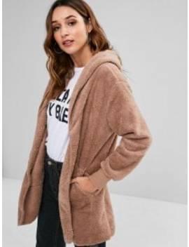 Hooded Front Pockets Fluffy Jacket   Khaki L by Zaful