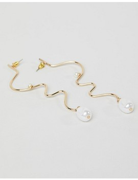 Asos Design Earrings In Swiggle Design With Faux Freshwater Pearl In Gold by Asos Design