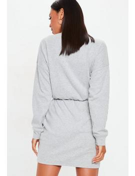 Grey High Neck Long Sleeve Sweater Dress by Missguided