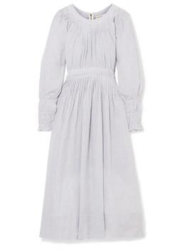 Jett Pleated Striped Metallic Cotton Blend Dress by Ulla Johnson