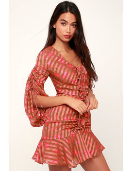 Significant Rust Brown And Pink Floral Print Ruched Mini Dress by C/Meo