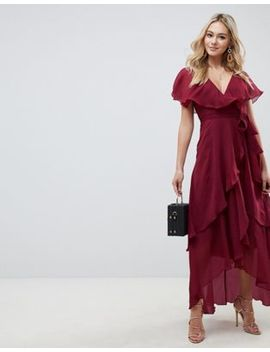 Asos Design Cape Back Dipped Hem Maxi Dress by Asos Design