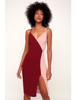 Gretchen Burgundy And Pink Two Tone Bodycon Dress by Lulus