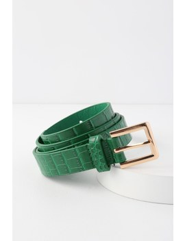 Gianno Green Crocodile Embossed Belt by Lulus