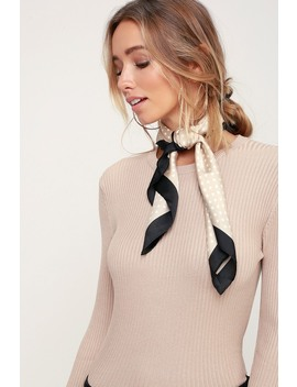 Genevieve Black And Beige Polka Dot Scarf by Lulus
