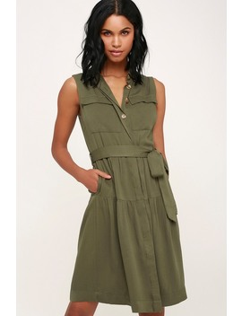 On The Hunt Olive Green Button Up Midi Shirt Dress by Lulu's