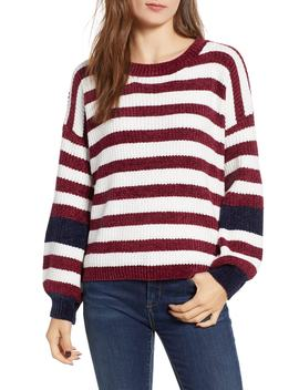 Stripe Crewneck Chenille Sweater by Woven Heart