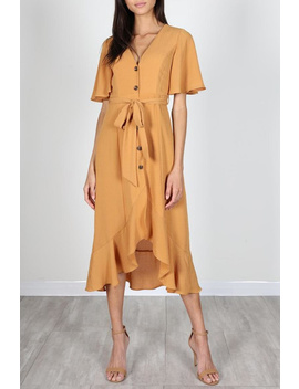 Mustard Button Down Midi Dress by Mod&Soul, Virginia
