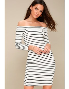 Bridget Black And White Striped Off The Shoulder Midi Dress by Bb Dakota