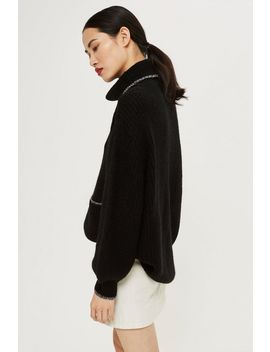 Oversized Tipped Pocket Roll Neck Jumper by Topshop