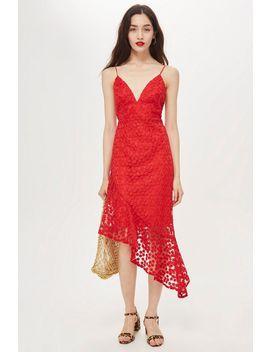 Lace Plunge Asymmetrical Hem Dress by Topshop