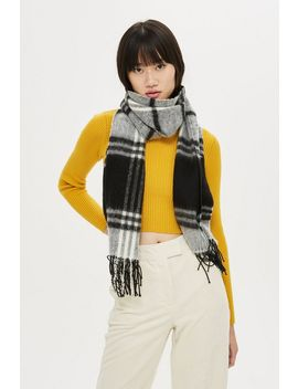 Monochrome Check Scarf by Topshop