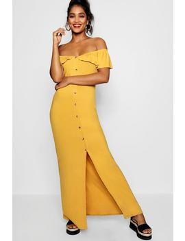 Off The Shoulder Button Front Maxi Dress by Boohoo