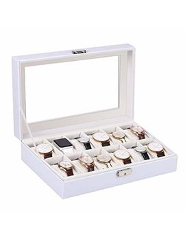 Amzdeal Watches Box 12 Grid Leather Watch Organizer Holder Glass Lid Watch Jewelry Display Storage Case For Men And Women, White by Amzdeal