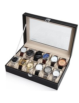 Readaeer Black Leather 12 Watch Box Case Organizer Display Storage Tray For Men & Women by Readaeer