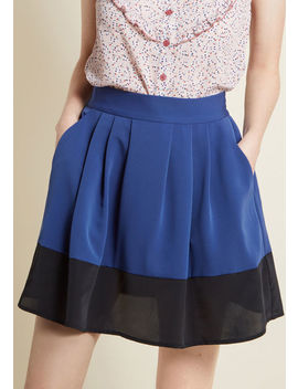 Contrasting Perspective Mini Skirt With Pockets In Navy by Modcloth