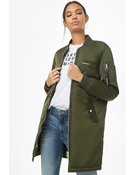 Members Only Satin Longline Bomber Jacket by Forever 21