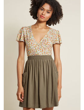 Staycation Kickoff Pocketed Skirt In Olive by Modcloth