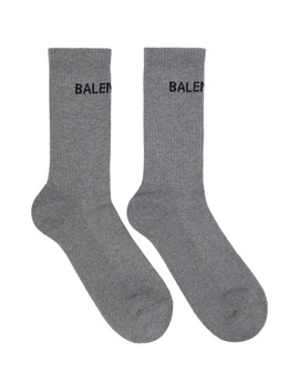 Grey Logo Tennis Socks by Balenciaga