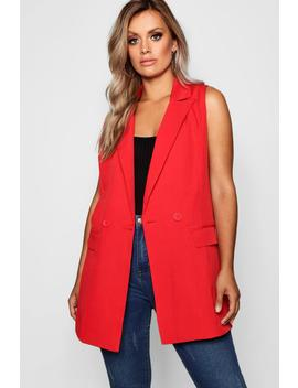 Plus Longline Double Breasted Sleeveless Blazer by Boohoo