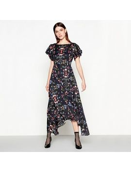 Studio By Preen   Black Floral Print Short Sleeve High Low Dress by Studio By Preen