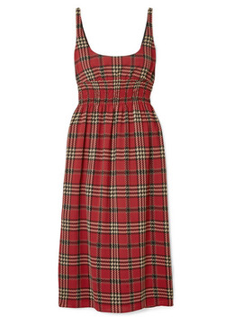 Giovanna Smocked Tartan Crepe Midi Dress by Emilia Wickstead