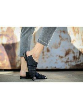 Sale Black Summer Flats, Leather Sandals, Slide Sandals, Handmade Sandals, Black Sandals, Summer Shoes, Black Mules, Slip On Sandals, Cecile by Etsy