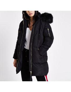 Black Faux Fur Hood Longline Puffer Jacket by River Island