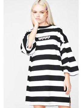 Lazy Heart Stripey Tee Dress by Lazy Oaf