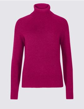 Lambswool Rich Textured Roll Neck Jumper by Marks & Spencer