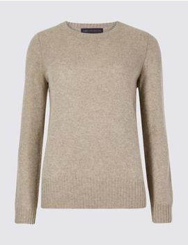 Lambswool Rich Textured Round Neck Jumper by Marks & Spencer