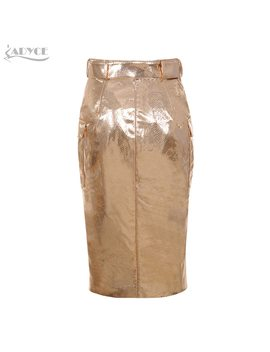 Adyce 2018 New Summer Women Skirts  Elegant High Waist Sexy Gold Knee Length Clubwears Skirt Celebrity Prom Bodycon Party Skirts by Adyce
