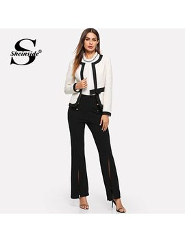Sheinside Bow Front White Blazer Female Workwear Women Blazers And Jackets Autumn 2018 Clothes Ladies Long Sleeve Elegant Blazer by Sheinside