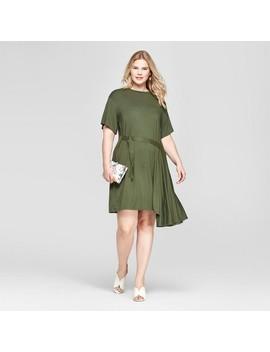 Women's Plus Size Asymmetric Dress   Ava & Viv™ Olive by Ava & Viv™