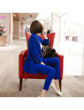 Fashion Blue Women Pant Suits Single Breasted Jacket Blazer & Pencil Pants Wear To Business Female 2 Pieces Set 2018 Autumn by Wrzs