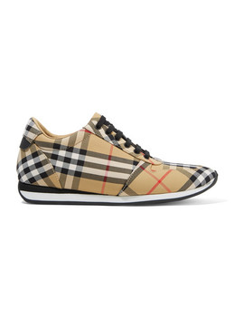 Leather Trimmed Checked Canvas Sneakers by Burberry