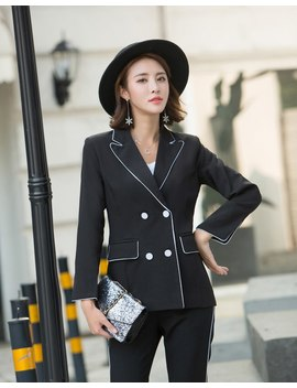 Women Black Work Pant Suits Office Lady Fashion Uniform Jacket Blazer & High Waist Ankle Length Pant Femme Outfit Terno Feminino by Wrzs