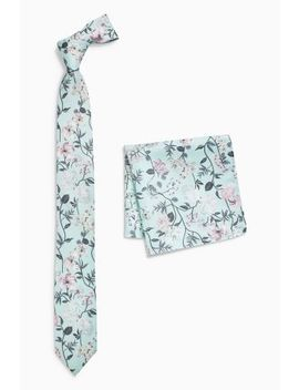 Mint Floral Tie And Pocket Square by Next
