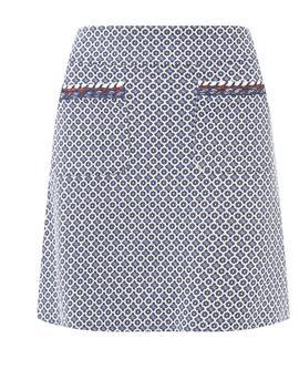 Blue Geometric Print Mini Skirt by Dorothy Perkins