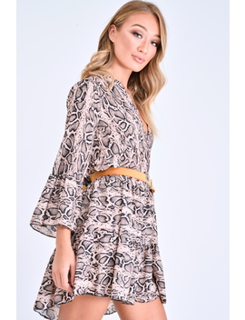 Brown Snake Print Plunge Flute Sleeve Shift Dress   Olesya by Rebellious Fashion